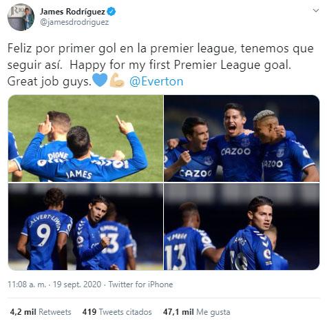 James Rodríguez, Everton FC 5-2 West Bromwich Albion, Premier League 2020-21, celebración