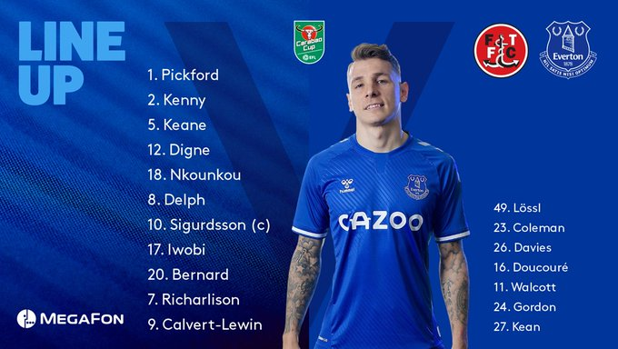 James Rodríguez, Yerry Mina, Everton FC, formación, Fleetwood Town, Copa de la Liga de Inglaterra 2020-21