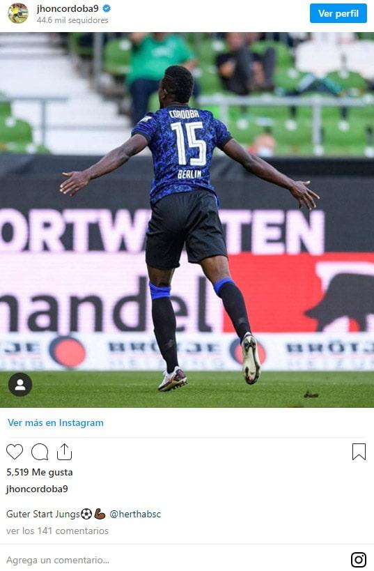 Jhon Córdoba, Werder Bremen 1-4 Hertha Berlín, Bundesliga 2020-21, celebración