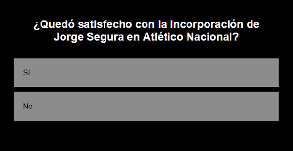 Jorge Segura, Atlético Nacional, encuesta