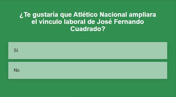 José Fernando Cuadrado, Atlético Nacional, encuesta