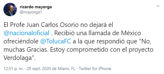 Juan Carlos Osorio, Deportivo Toluca, Atlético Nacional, Ricardo Mayorga