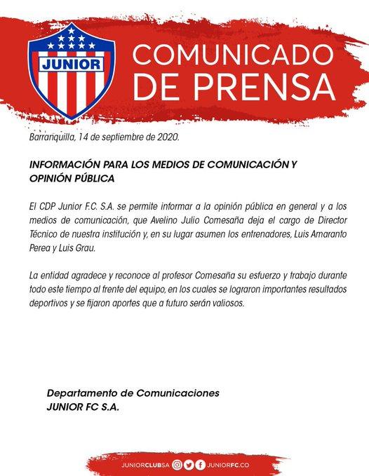 Julio Comesaña, Junior FC, comunicado de prensa