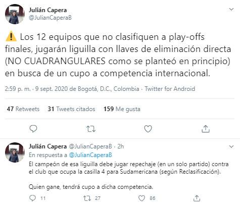 Liga 2020-I, playoffs, Julián Capera, Dimayor