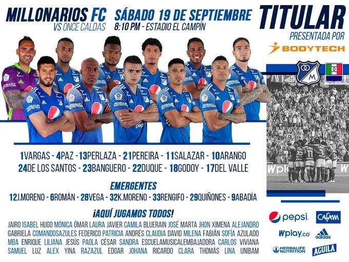 Millonarios FC, formación, Once Caldas, Liga 2020-I
