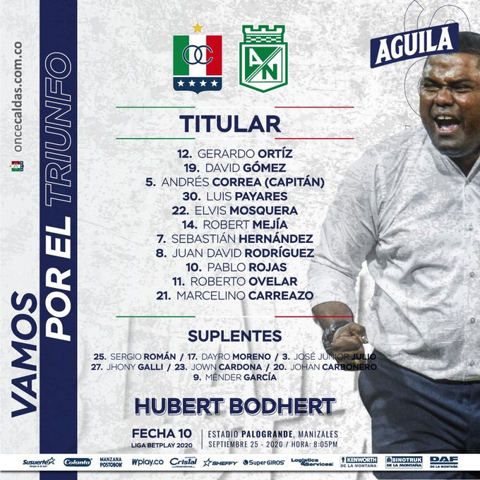 Once Caldas, formación, Atlético Nacional, Liga 2020-I