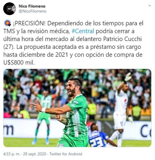 Patricio Cucchi, Rosario Central, Independiente Santa Fe, Atlético Nacional, Nico Filomeno