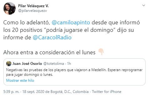 Pilar Velásquez, COVID-19, Atlético Nacional, Deportes Tolima, Liga 2020-I
