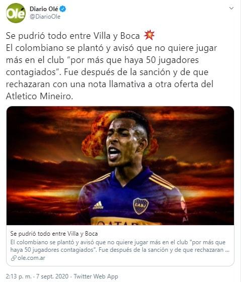 Sebastián Villa, Boca Juniors, Copa Libertadores 2020, Olé