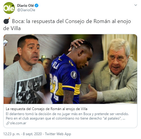 Sebastián Villa, Juan Román Riquelme, Boca Juniors, Copa Libertadores 2020, Olé