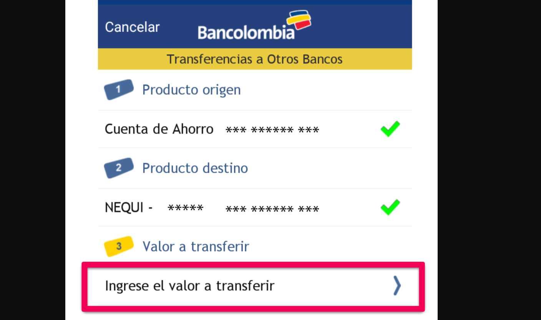 Transferir dinero del Ingreso Solidario de Nequi a Bancolombia