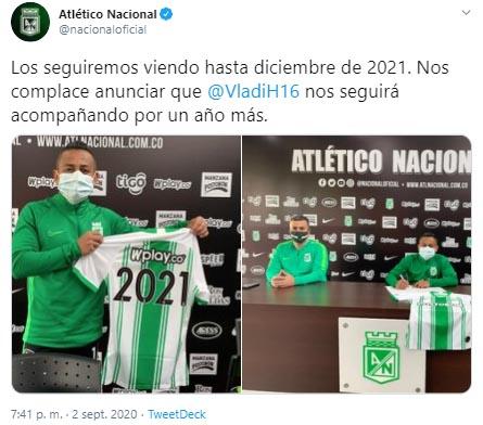 Vladimir Hernández, Atlético Nacional, contrato, renovación