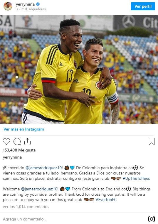 Yerry Mina, bienvenida, James Rodríguez, Everton FC