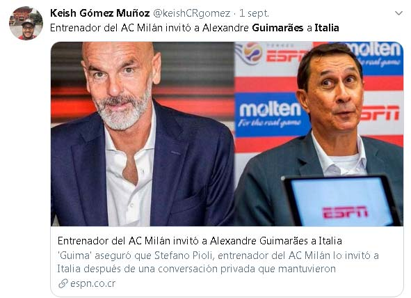 America de Cali Alexandre Guimaraes AC Milan