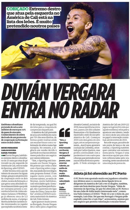América de Cali: Duván Vergara está en el radar de Sporting Clube de Portugal