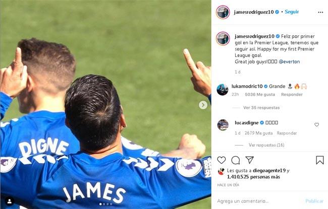 Jugador de Real Madrid y su mensaje a James Rodríguez por el gol con Everton