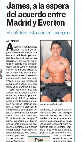 ¿La razón del retraso en la presentación de James Rodríguez en Everton?