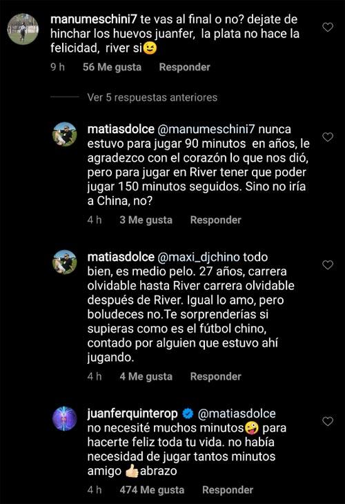 Épica respuesta de Juan Fernando Quintero al hincha que cuestionó su ida a China