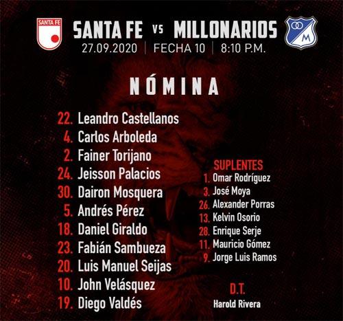 Santa Fe vs. Millonarios: titulares confirmadas
