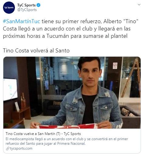 Alberto 'Tino' Costa, Alberto Costa, ex Atlético Nacional, San Martín de Tucumán, TyC Sports