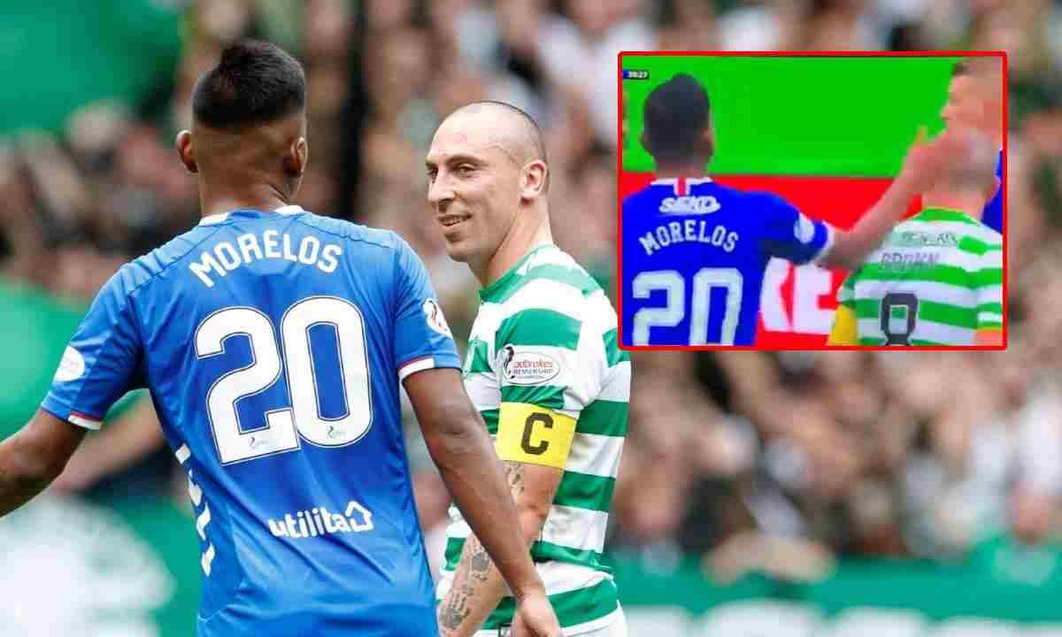 Alfredo Morelos muy a lo suyo contra el capitán del Celtic