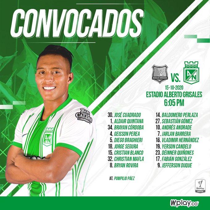 Atlético Nacional, convocados, Águilas Doradas, Liga BetPlay 2020-I