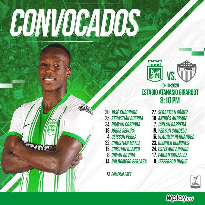 Atlético Nacional, convocados, Junior FC, Liga BetPlay 2020-I