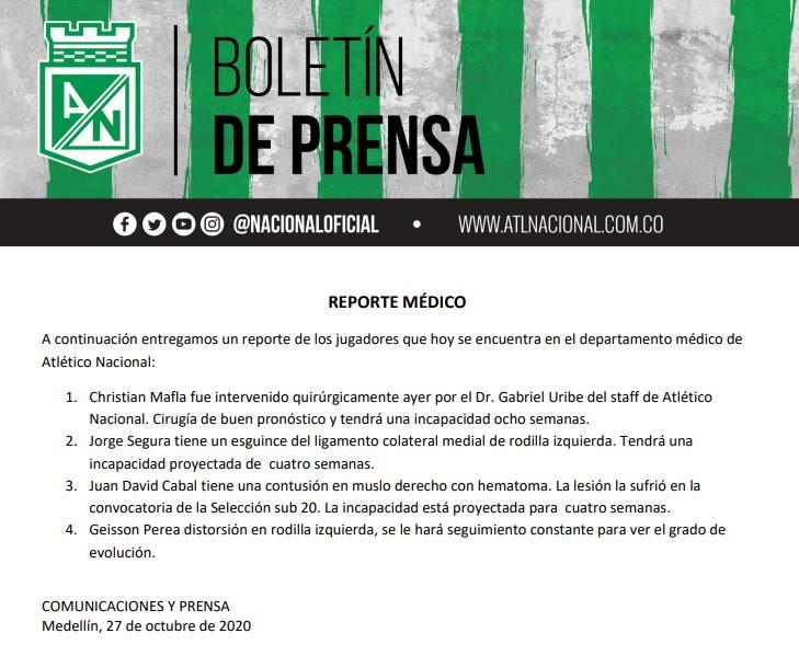 Atlético Nacional, reporte médico, 27 de octubre