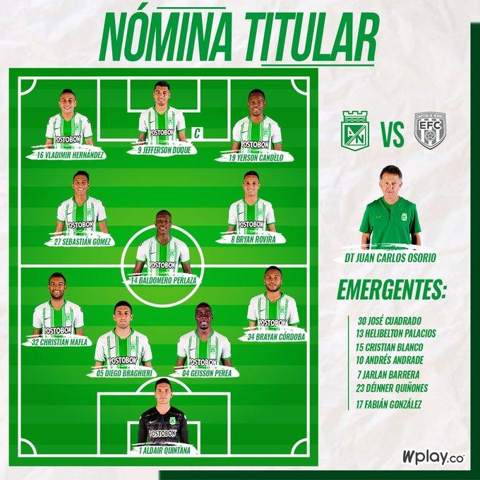 Atlético Nacional, titulares, Envigado FC, Liga 2020-I