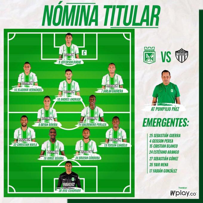 Atlético Nacional, titulares, Junior FC, Liga BetPlay 2020-I