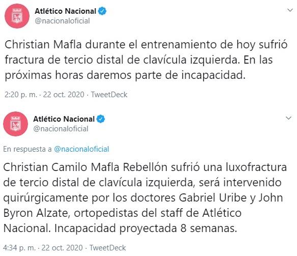 Christian Mafla, parte médico, Atlético Nacional