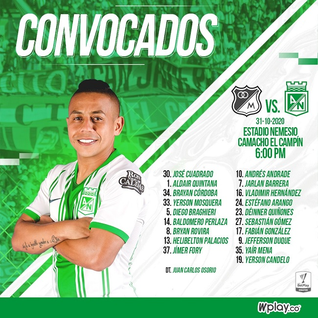 Convocados Nacional vs. Millonarios, fecha 17, Liga BetPlay 2020-I