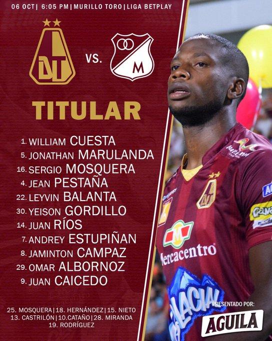 Deportes Tolima, titulares, Millonarios FC, Liga BetPlay 2020-I