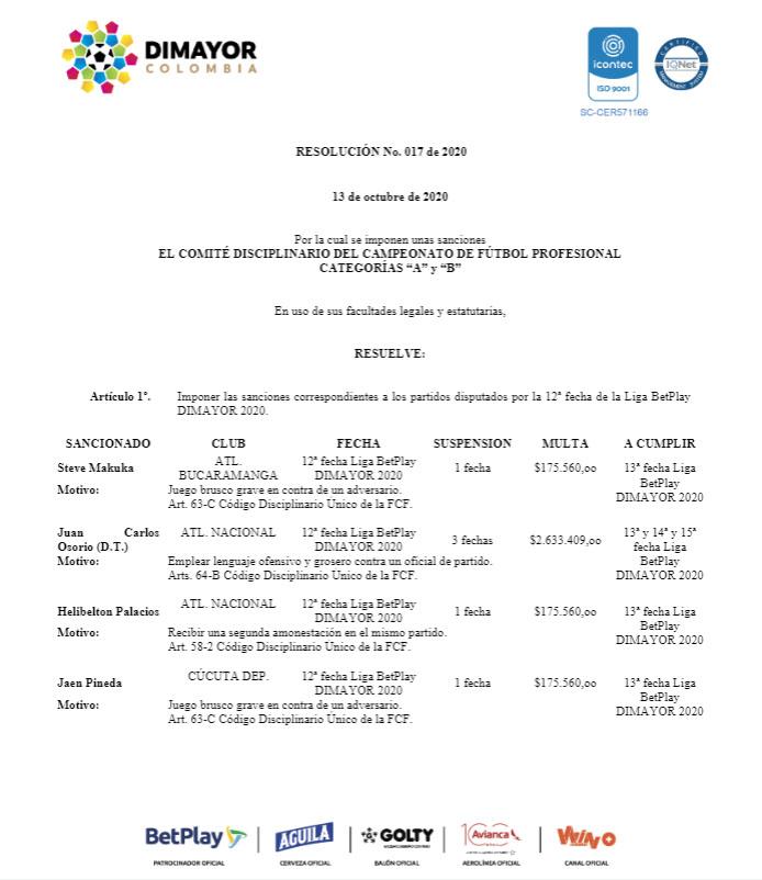 Dimayor, Juan Carlos Osorio, Atlético Nacional, Liga BetPlay 2020-I, suspensión