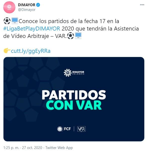 Dimayor, VAR, Millonarios vs. Nacional, fecha 17 Liga BetPlay 2020-I