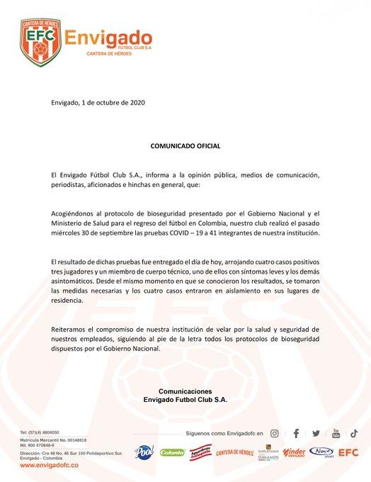 Envigado, COVID-19, Nacional, Liga 2020-I