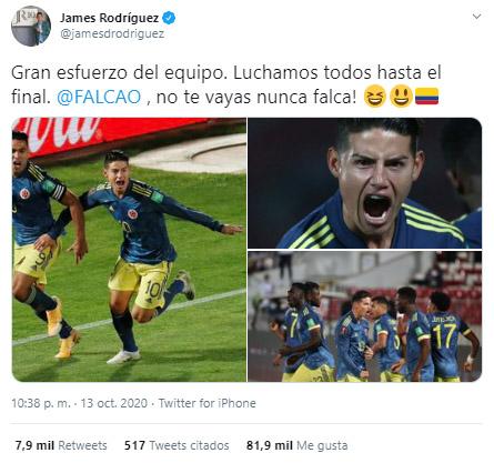 Falcao García, James Rodríguez, dedicatoria, Selección Colombia, Selección de Chile, Eliminatorias Sudamericanas al Mundial de Fútbol Qatar 2022, Eliminatorias Sudamericanas Qatar 2022