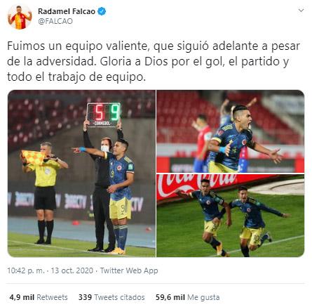Falcao García, reacción, Selección Colombia, Selección de Chile, Eliminatorias Sudamericanas al Mundial de Fútbol Qatar 2022, Eliminatorias Sudamericanas Qatar 2022 (1)