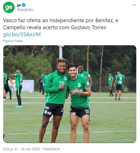 Gustavo Torres, Atlético Nacional, Vasco da Gama, Globo Esporte