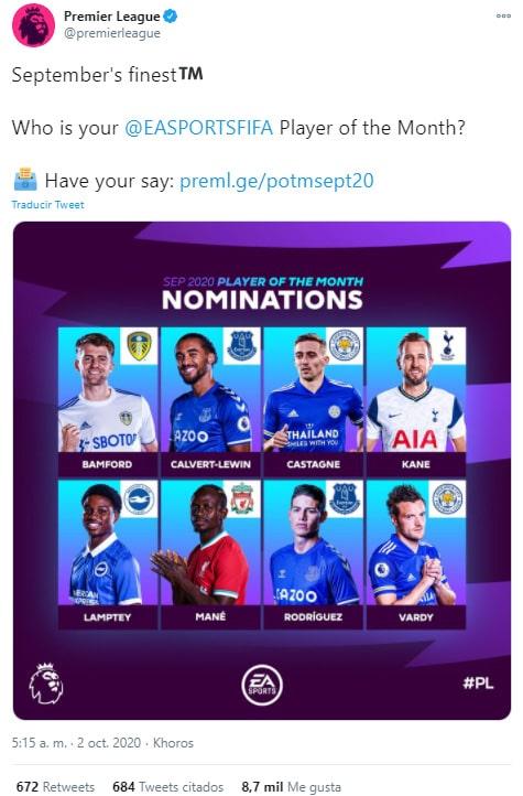 James Rodríguez, Everton FC, mejor jugador, septiembre, Premier League 2020-21