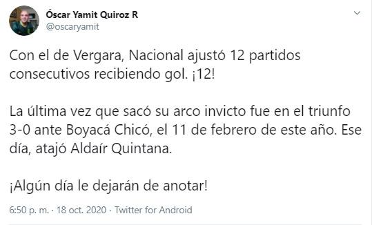 José Fernando Cuadrado, Aldair Quintana, Atlético Nacional, Liga BetPlay 2020-I, Copa Sudamericana 2020, Óscar Yamit Quiroz