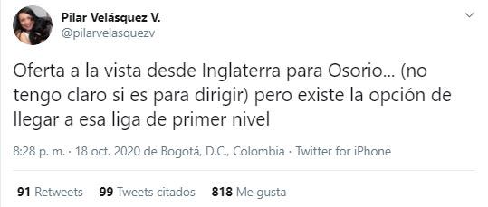 Juan Carlos Osorio, Manchester City, Pilar Velásquez