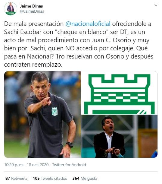 Juan Carlos Osorio, Santiago Escobar, Atlético Nacional, Jaime Dinas (1)