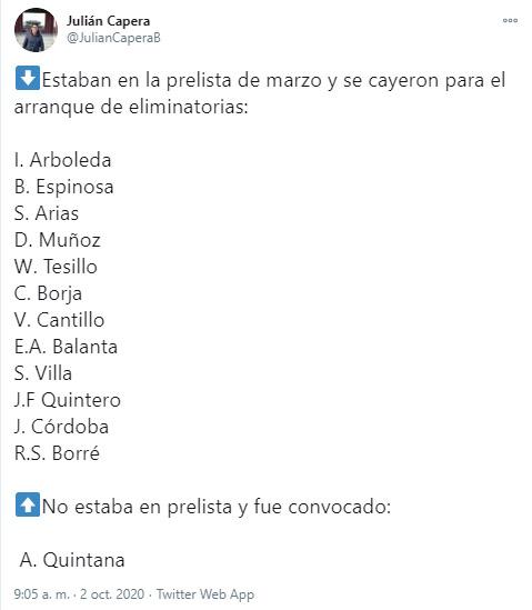 Juan Fernando Quintero, Rafael Santos Borré, Selección Colombia, preconvocatoria, Eliminatorias Sudamericanas Qatar 2020, Julián Capera