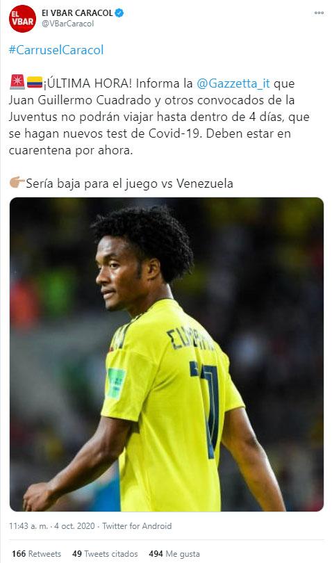 Juan Guillermo Cuadrado, Juventus FC, Selección Colombia, Eliminatorias Sudamericanas a Qatar 2022, Mundial de Fútbol Qatar 2022, El Vbar
