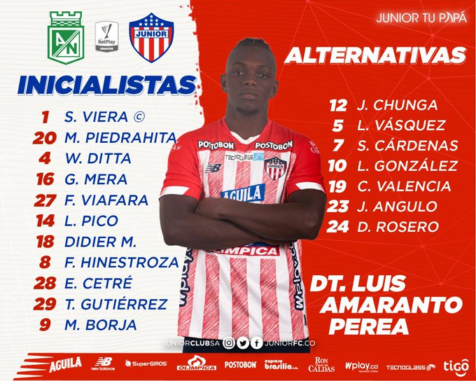 Junior FC, titulares, Atlético Nacional, Liga BetPlay 2020-I