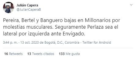 Millonarios FC, Envigado FC, Liga BetPlay 2020-I, Julián Capera