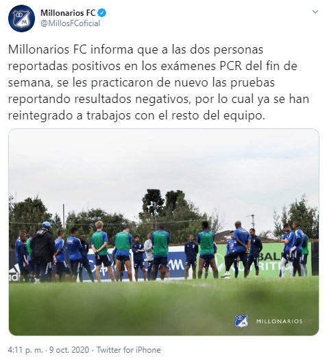 Millonarios FC, Liga BetPlay 2020-I, COVID-19, último informe