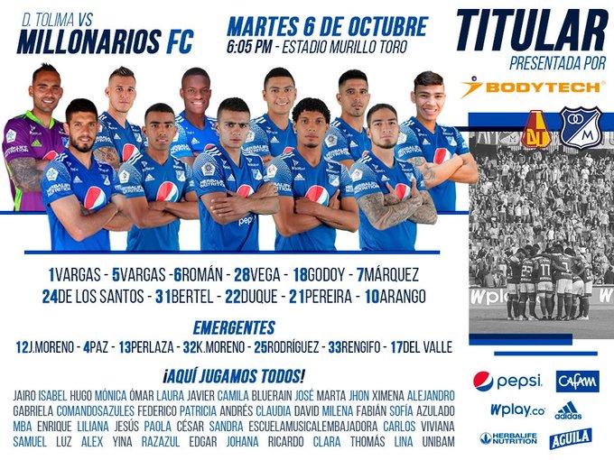 Millonarios FC, titulares, Deportes Tolima, Liga BetPlay 2020-I