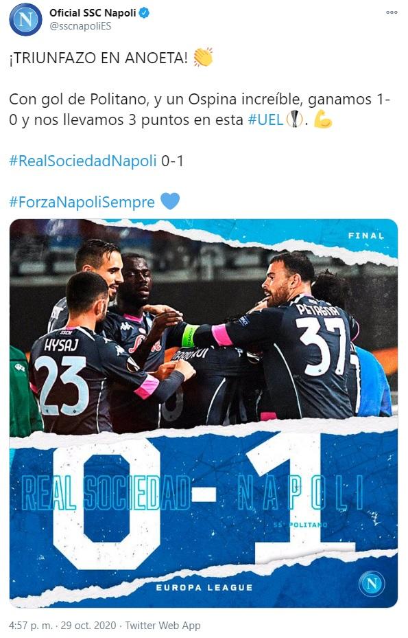 Napoli, tweet 2, David Ospina, Europa League 2020-21